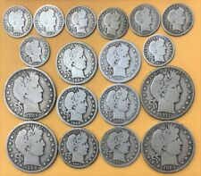 New ListingUs 90% Silver Lot - Barber Dimes Quarters Halves - 18 Coins