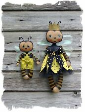 Primitive Pattern Queenie Bee & Lil 'Bumbles A Mamma Bee & Baby So Cute!  # CF