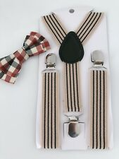 Kid Child Costume Party Scotland Beige Stripe Brace Suspender check bowtie set