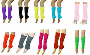 Ladies Girls Teen 80's Dance Plain Ribbed Leg Warmers Hen Party 15 Colours Tutu