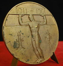 Large médaille Athlète à l'antique Homme nu Naked man par LOUIS DUPONT Medal 铜牌