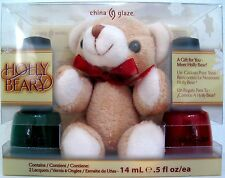 CHINA GLAZE HOLLY BEAR-Y 3-PC POLISH SET~Holly-Day & Winter Berry FREE Bear! NIB