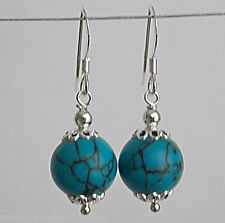 10mm GENUINE TURQUOISE BEAD / BALL 925 STERLING SILVER DOUBLE CAP DROP EARRINGS