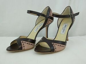 Women's Jimmy Choo high heeled Peep toe shoes pink & Burgundy Size UK 7 EU 40