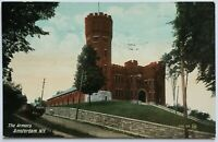 Postcard Amsterdam NY Armory Building View New York Stone Wall 1900's 1908