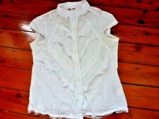 Ladies White Lace short sleeved Shirt Size 12