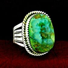 Sterling Silver Turquoise Men's Ring  Size 13  Native American Handmade -- R22 G