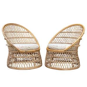 Mid-Century Boho Chic Bent Rattan Barrel Club Chairs - A Pair