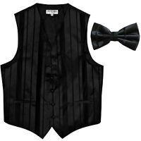 New formal men's tuxedo vest waistcoat & bowtie vertical stripes Black prom