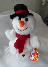 Ty SNOWBALL the SNOW Beanie Baby 12 - 22 - 96  MWMT  and Tag Protector
