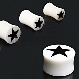 "PAIR-Bone w/Black Star Saddle Flare Ear Plugs 18mm/11/16"" Gauge Body Jewelry"