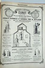Vintage Pub Chaudronnerie Appareils Distillation Alambic EGROT La Villette 1881