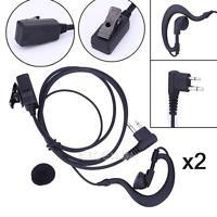 2Pcs 2-Pin Earpiece Headset Headphone Mic PTT for Motorola CB Radio CP88 CP040