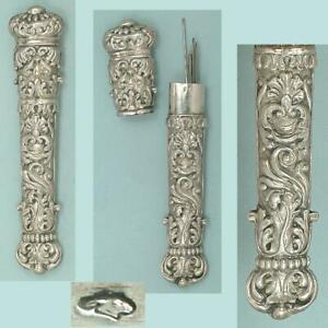 Ornate Antique French Silver Needle Case * Circa 1830