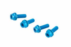 [US Seller] x4 Bike M5x16mm Water Bottle Cage Pump Bolt w/ Washer Screws - Blue