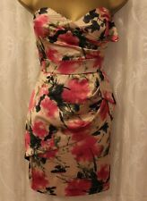 TFNC Bandeau Strapless Peplum Floral Print Fitted Mini Bodycon Party  S 8 36