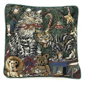 Kitty Cat Kitten Holiday Christmas Tree Tapestry Throw Pillow 11 X 11 Inches