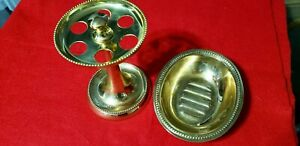 Vintage Brass Toothbrush and Soap Dish Holders.