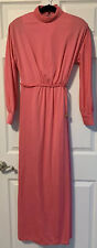 VINTAGE 70'S Handmade Evening Gown High Collar Faux Wrap Dress