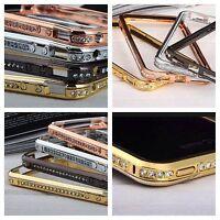 DIAMOND CRYSTAL BLING METAL ALUMINIUM BUMPER CASE COVER FITS APPLE IPHONE MODELS
