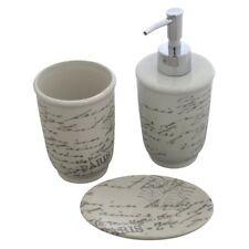 3pc Ceramic Bathroom Set 3 Colours Beige Grey White Dispenser Tumbler Soap Dish