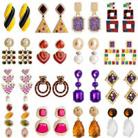 Fashion Statement Boho Crystal Pearl Alloy Geometric Big Dangle Earrings Women
