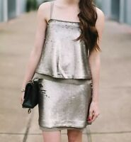 Banana Republic Women's Pewter Matte Sequin Spaghetti Strap Party Mini Dress 6