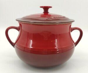Le Creuset Large Casserole Bean Soup Pot Double Handle Red Ceramic Cookware