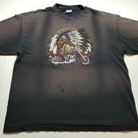 Vtg Hyland Native American Chief Motorcycle T-Shirt Mens 2XL Black Faded 90s ?93