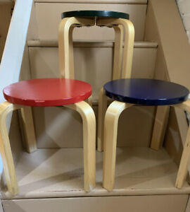 Wooden Children's Stools Lot Of 3 Modern Colorful Kids