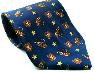 Tommy Hilfiger Fishing Lure Coat Of Arms Crest Stars Silk Necktie