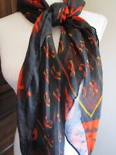 Halloween Scarf, Square, Black w/Orange & Yellow Jack-O-Lanterns NWT
