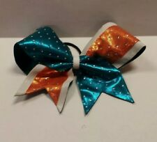 Cute! Cheerleading 7 in Hair Bow. White/blue/orange with studs.