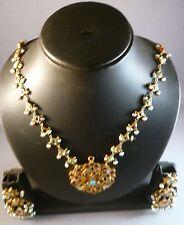 ANTIQUE VINTAGE KUNDAN GOLD FINE INLAID PENDANT NECKLACE+ EARRINGS  BRIDAL INDIA