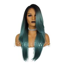 Long Straight Side Part |Rooted Aqua Blue/Green Side Part| Lace Front Wig