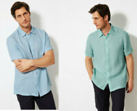 M&S Marks & Spencer Blue Harbour Mens Pure Linen Short Sleeves Shirt M L XL 2XL
