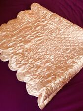 Antique Victorian Pink Satin Metalasse Hand Quilted Coverlet Blanket Throw