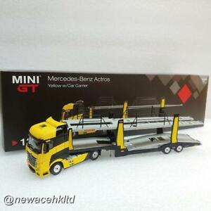 Mercedes-Benz Actros Yellow w/Car Carrier RHD MINI GT 1/64 #MGT00137-R