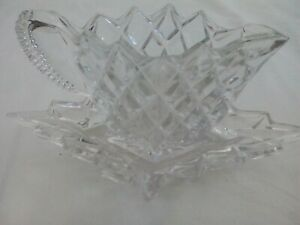 Milk jug/creamer/condiment dish with stand, pressed glass, cut-glass style décor