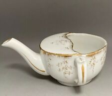 Antique Invalid Cup Feeder Pap Boat MAW Pottery China White & Gold