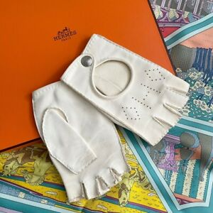 HERMÈS 100% Authentic 🌈 850$ Ivory Cult Gloves Car Mittens 7 Size