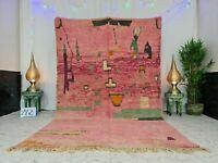 "Moroccan Boujaad Handmade Vintage Rug 6'2""x9'9"" Berber Abstract Pink Wool Carpet"