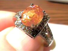 STERLING SILVER 925 MANDARIN OPAL RING 6.5 WHITE GOLD, FANCY WHITE SAPPHIRE WOW
