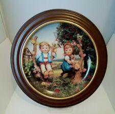 """Vintage Hummel 8"""" Collector Plate W Frame/Orig Box/Cert-Apple Tree Boy & Girl"""