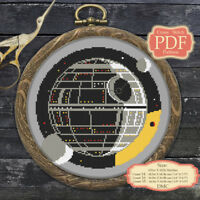Death Star - Cross stitch PDF Pattern Embroidery Hoop Art #055