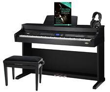 PIANOFORTE DIGITALE TASTIERA ELETTRICO 88 TECLAS 3 PEDALI SET BANCO CUFFIE NERO