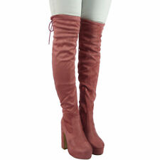 Womens Ladies Thigh High Over The Knee Platform Lace High Heel Boots Shoes Size
