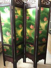 4-leaf Folding screen both sides hardwood frame Privacy Screen Room Divider 木屏风