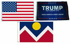 3x5 Trump #1 & USA American & City of Denver Wholesale Set Flag 3'x5'