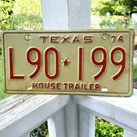 Vintage 1974 TEXAS License Plate House Trailer L90 199 Very Nice